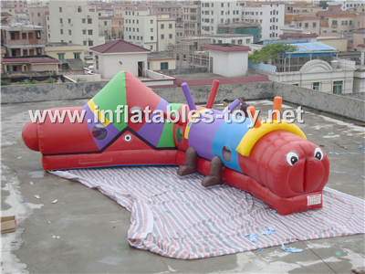 Inflatable Caterpillar Slide Obstacle Course,OBS-113